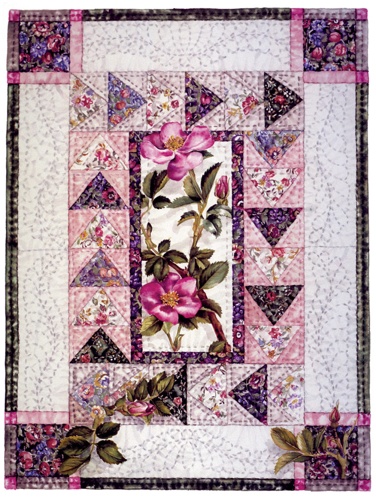 cathy weber - art -wild rose- holycard - quilt - watercolor - creation - stitcher - stitch - montana- rose - quilter