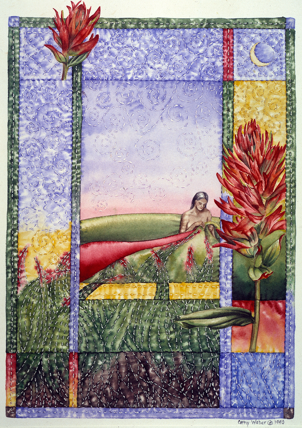 cathy weber - art - holy card - holycard - quilt - watercolor - creation - indian paintbrush - stitcher - stitch - montana