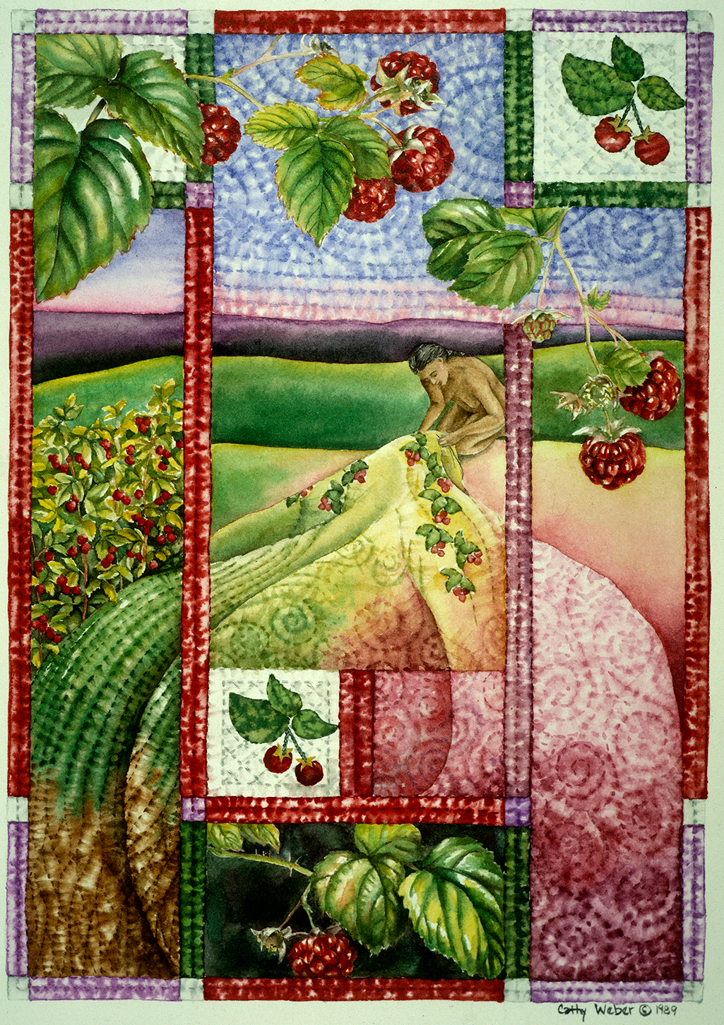 cathy weber - art - holy card - holycard - quilt - watercolor - creation - stitcher - stitch - montana- raspberry - quilter