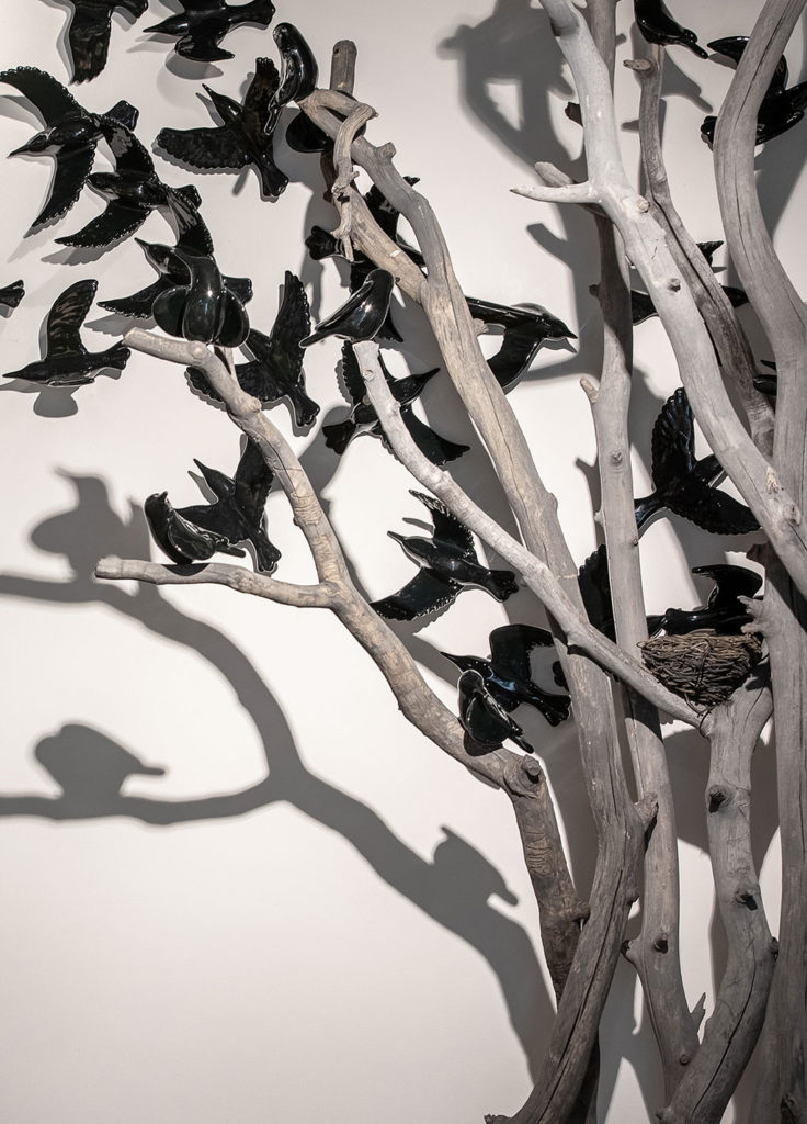 cathy weber - art - clay- woman - montana - ceramic - porcelain - bird - blackbird - flock - tree - MAM - Overstory/Understory