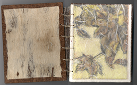 cathy weber - momtana - etching - woman - leaves - art - stitched - artist - book