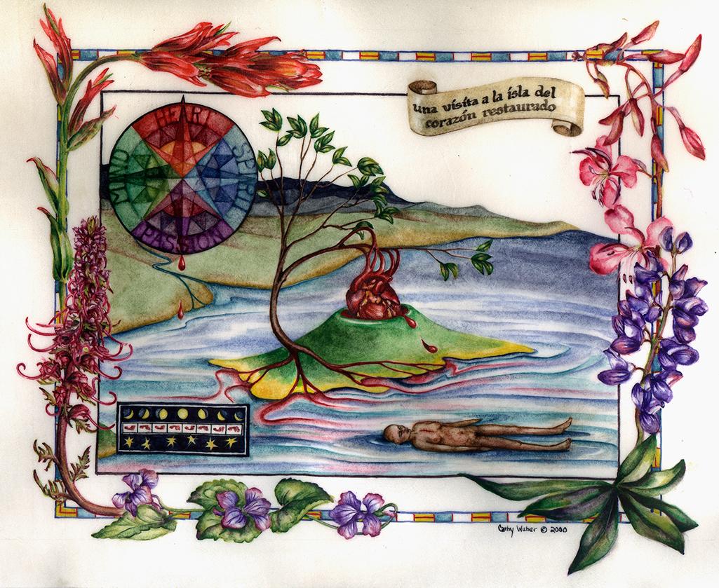 cathy weber - art - artmaker - watercolor - montana - illumination - book - artist - map - compass rose - parchment