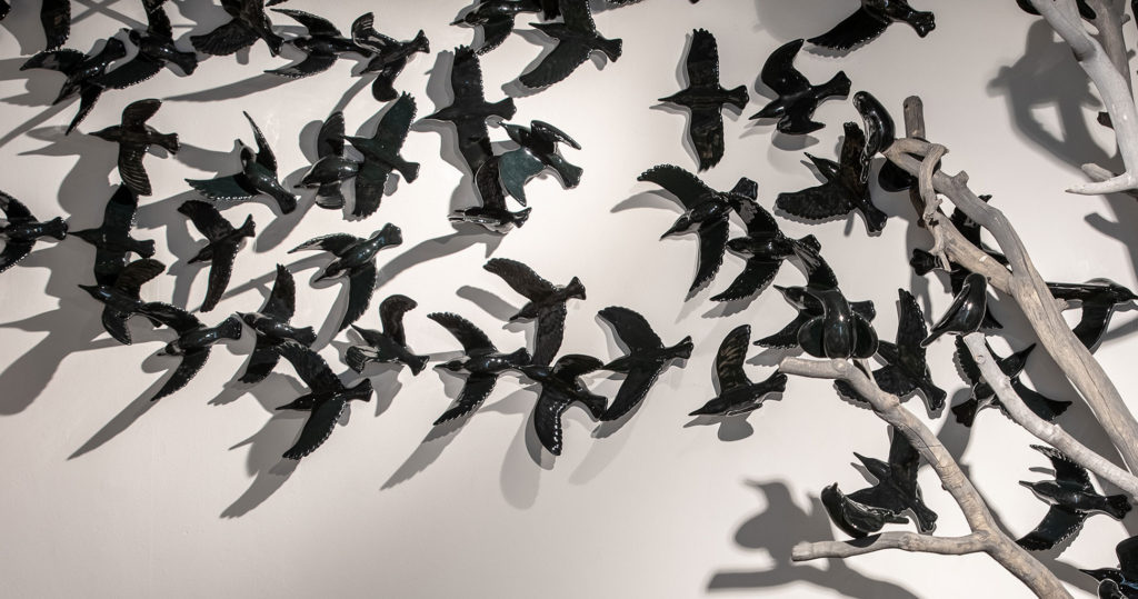 cathy weber - art - clay- woman - montana - ceramic - porelain - bird - wall - black - flying - flight